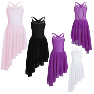 Kid-Girls-Lyrical-Ballet-Dance-Dress-Irregular-Hem-Leotard-Gym-Dancewear-Costume