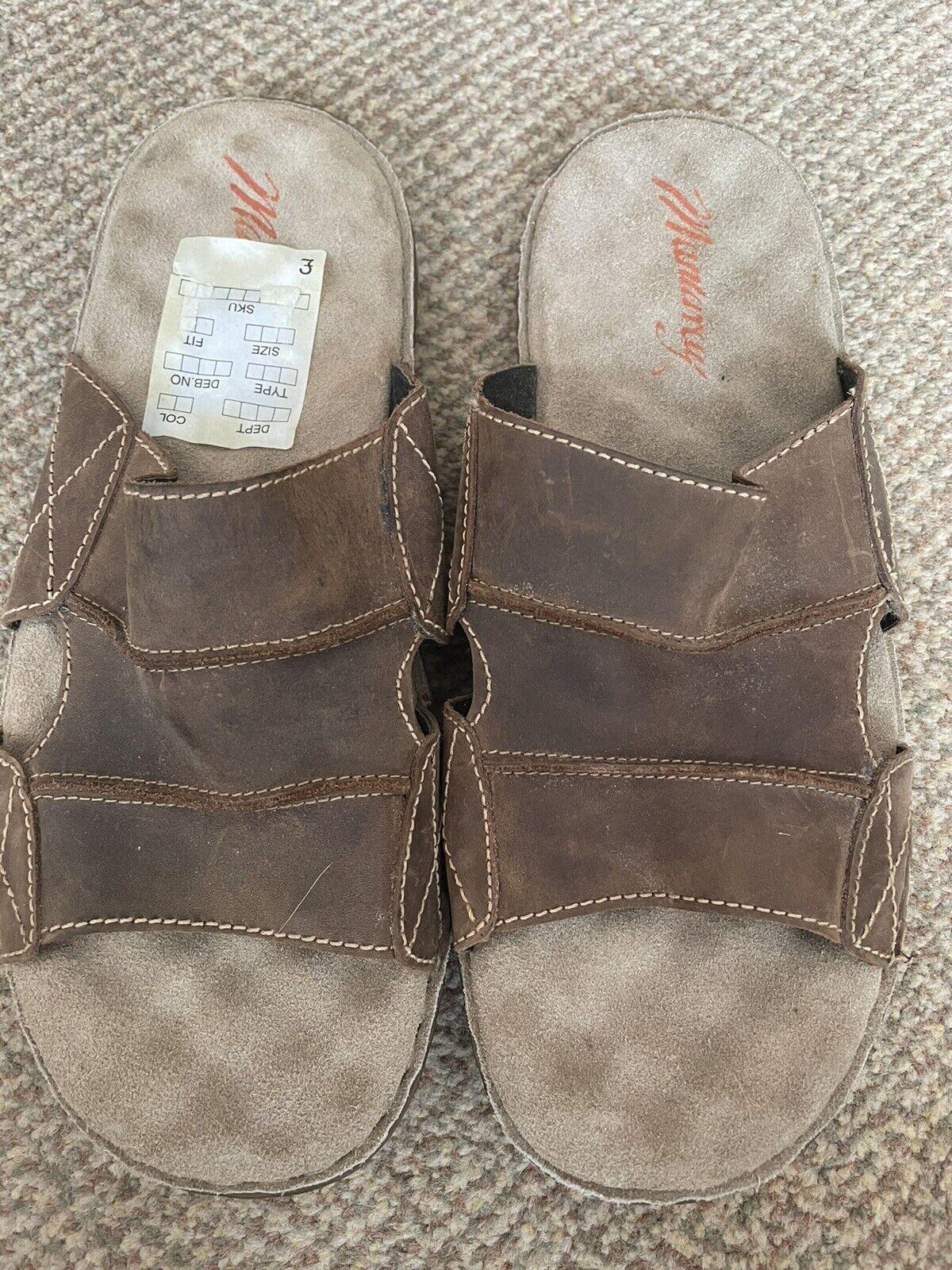Mantaray Mens Slider Leather Sandals Size 9