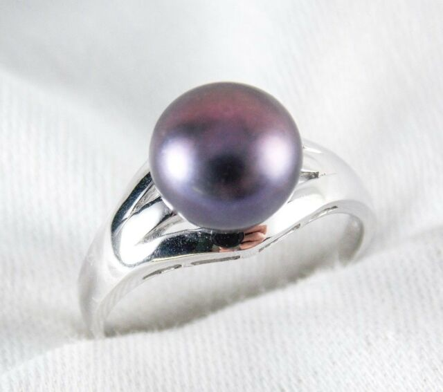 Black Fresh water Pearl 9mm Ring 925 Sterling Silver Size 8
