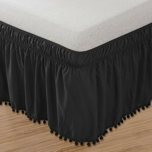 Easy Fit Pompom Fringe Bed Skirt Ruffle Elastic Wrap White Black Queen King Size