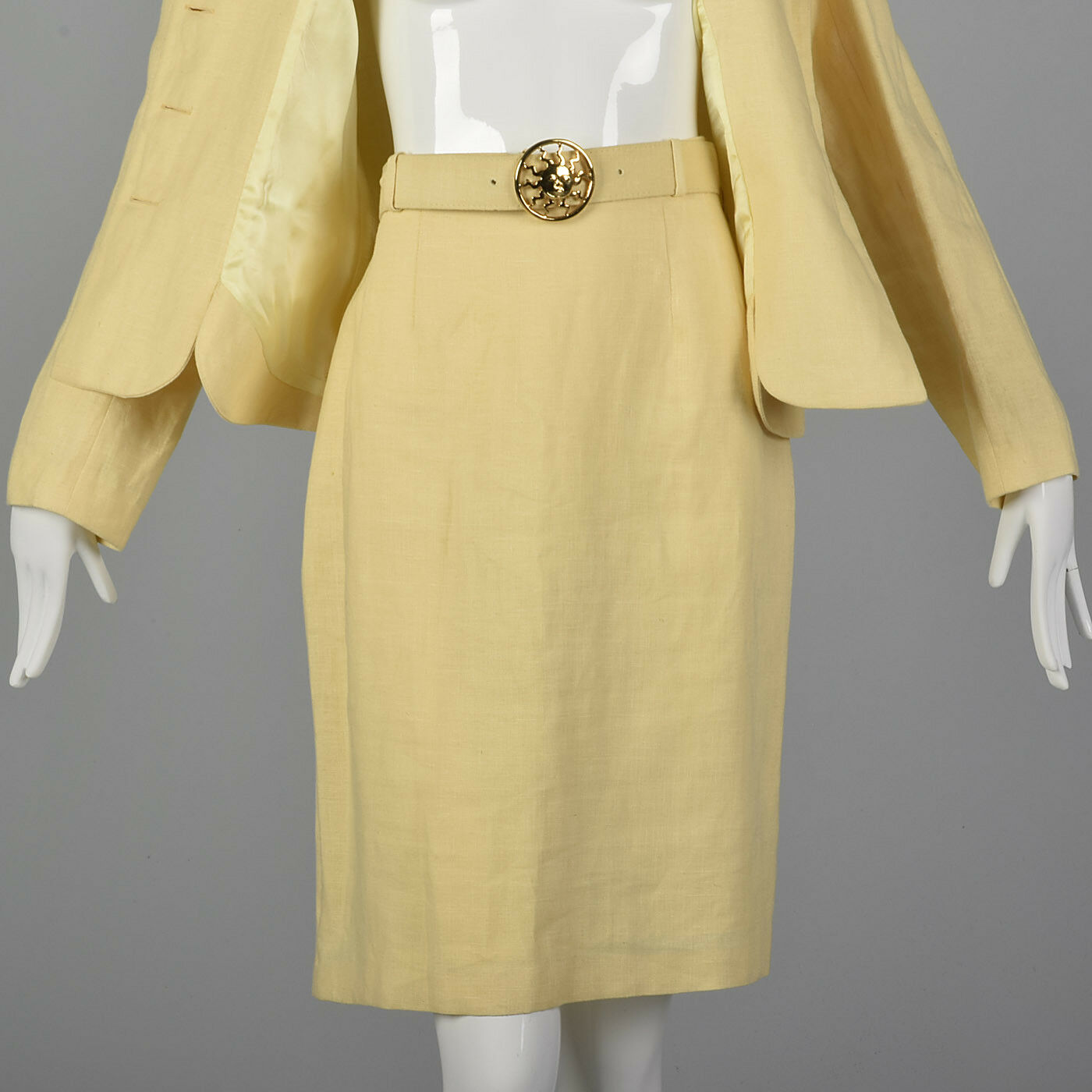 M 1990s Moschino Cheap & Chic Yellow Linen Suit S… - image 7