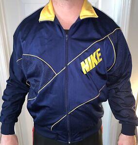 Vintage Yellow Zip Up Lightweight Jacket 70s Retro Plain Windbreaker Men/'s Medium
