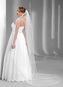 New-1T-White-Ivory-Wedding-Prom-Bridal-Chapel-Veil-With-Comb-100-034-Satin-Edge