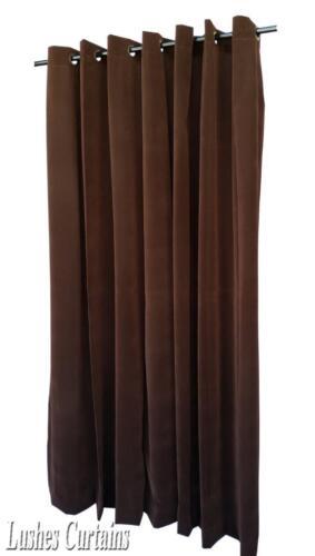 Solid Brown 13ft H Velvet Curtain Panel Grommet Top Eyelets Window Single Drapes