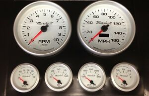 C2 Gauge Set, 5 inch Speedo/Tach, White Dials, Silver Bezels, 0-90 Ohm Fuel Lvl