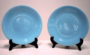 Rare-Boch-Freres-La-Louviere-Blue-Dinner-Plates-Dish-1940-1950-Set-of-2