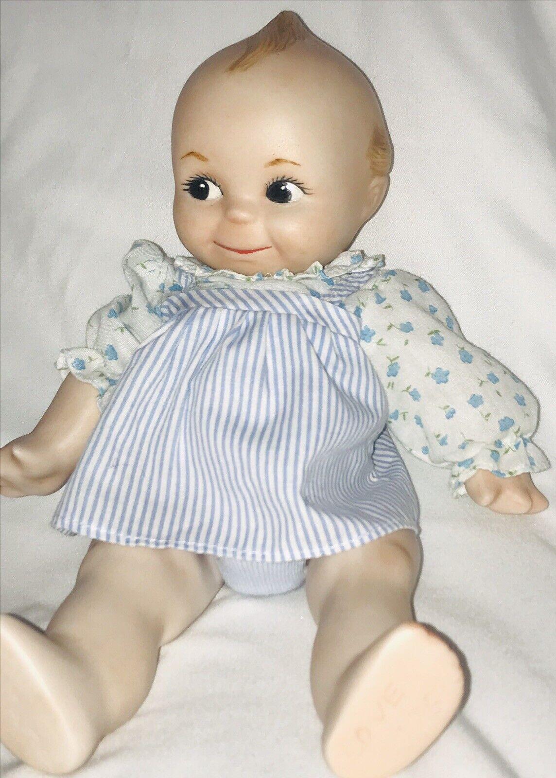 Qewpie Danbury Mint Porcelain Doll Jointed Vintage 1984 bluee Floral Dress Nice