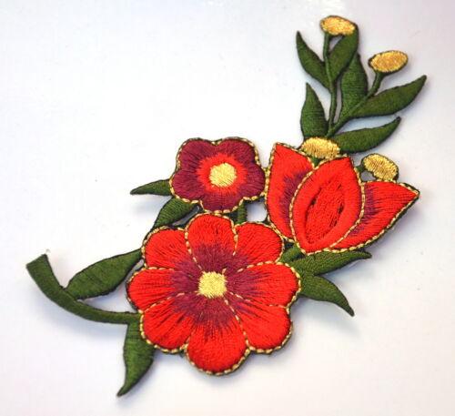 RED GOLD SPRING ROSE FLOWER Embroidered Iron Sew On Cloth Patch  APPLIQUE