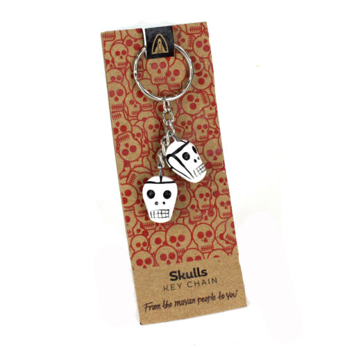 Skull Keyring Day of the Dead Style Keychain Fairtrade Handmade Ceramic Gift
