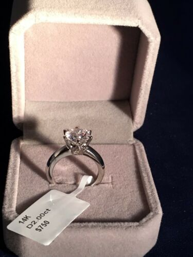 2 CT DIAMOND ENGAGEMENT Bridal RING 14K WHITE GOLD TONED Women's