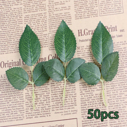 50pcs Green Artificial Rose Leaf Leaves Fabric For Bouquet Garland Craft Decor