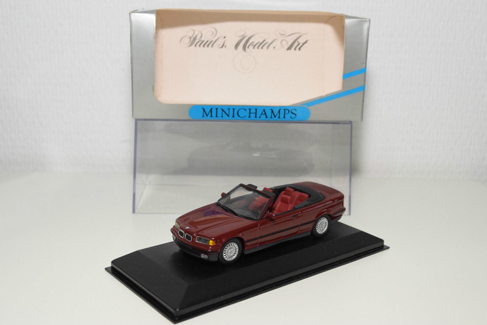 MINICHAMPS BMW E36 3ER 3 SERIES CABRIOLET 1992 MAROON MINT BOXED RARE SELTEN
