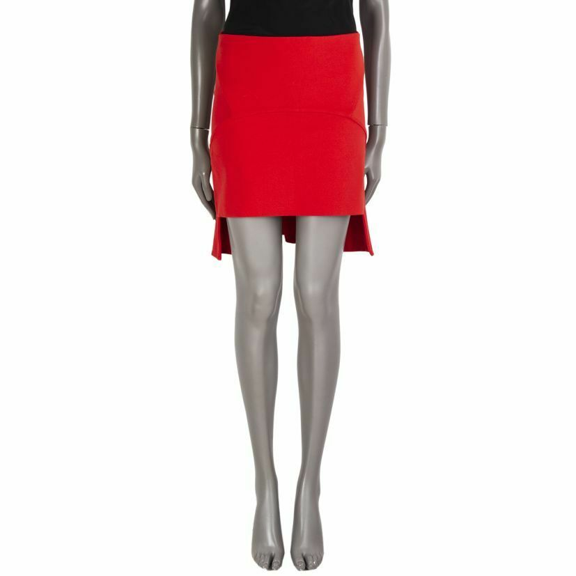 55882 auth GIVENCHY red viscose Mullet Mini Pencil Skirt M