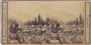 Vallée Da Chamonix Francia Suisse Foto A. Braun Stereo Vintage Albumina Ca 1860