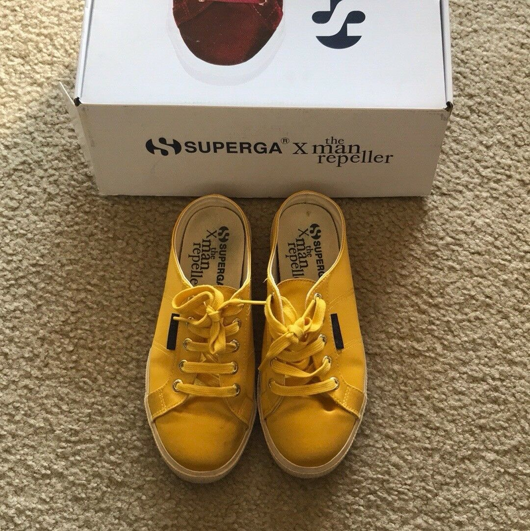 Superga x Man Repeller Marigold Satin Mules, Size 7.5