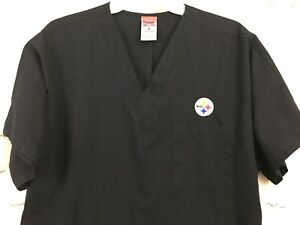 Image is loading NFL-Pittsburgh-Steelers-Black-Scrubs-Top-Womens-Size- 2393b29fc
