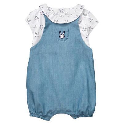 NWT Gymboree Baby Bunny Rabbit Overall Set 2PC Baby Girl 0-3-6-12-18-24