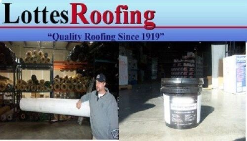 """10/' x 10/' WHITE 60 MIL EPDM RUBBER ROOF KIT W//ADHESIVE 6/"""" x 25/' TAPE"""