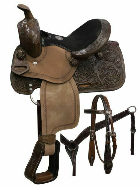 Youth Pony Saddle SET with Copper Coloreeosso Starburst Conchos 10 NEW