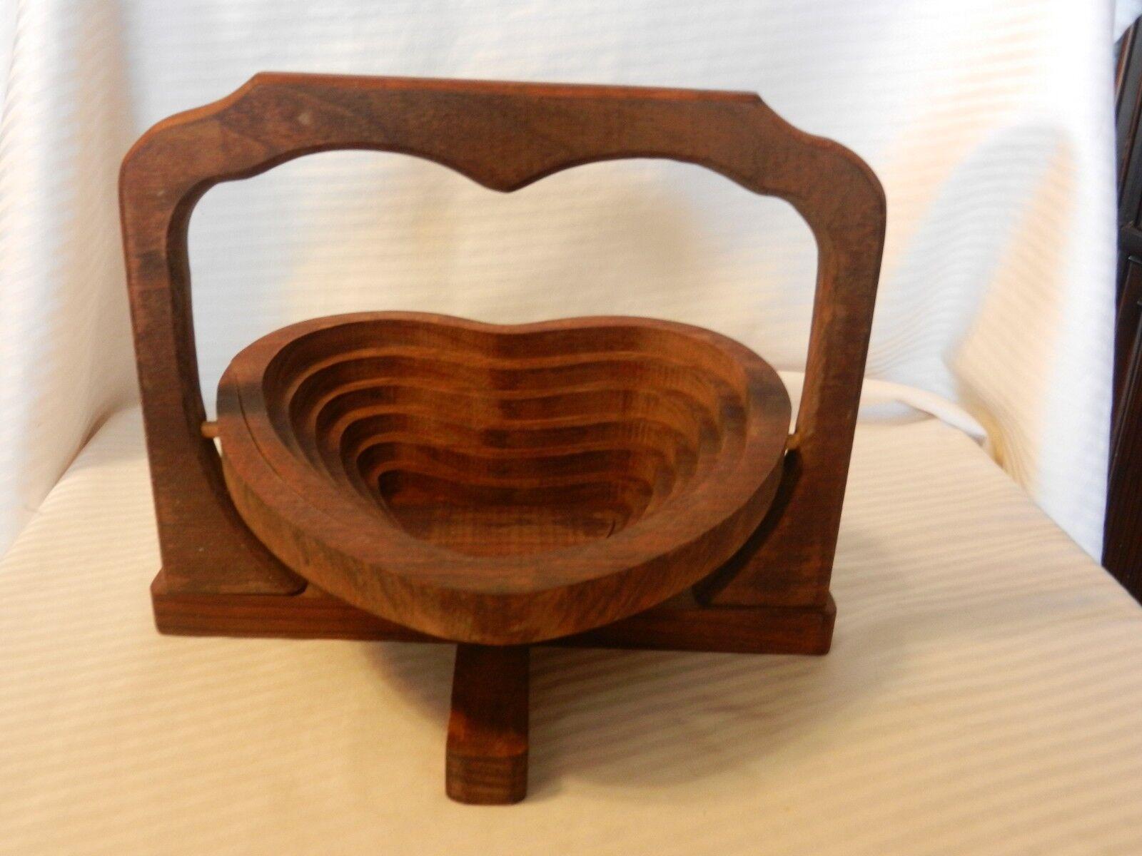 Vintage Hand Made Arts & Crafts Wood Folding Heart Shaped Basket Dish