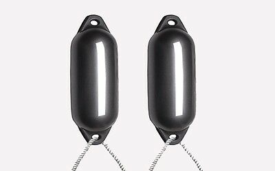 2 X Majoni Anthracite Fenders (Deflated) - Size2 + Free Rope