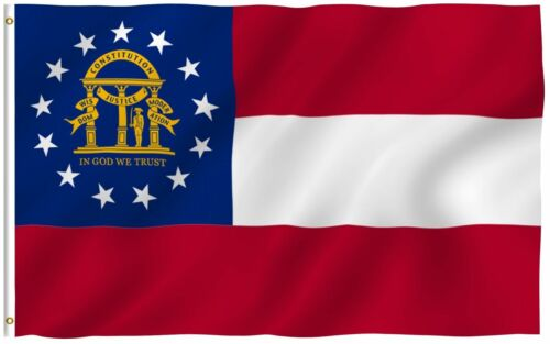 State of Georgia Flag 3'x5' Banner Super Polyester 150D Brass Grommets