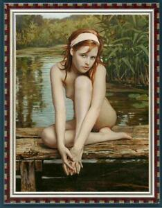 """Hand-painted Original Oil painting Portrait art nude girl on Canvas 24""""x36"""""""