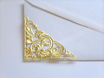 German Dresden Gold Foil Paper Victorian Scrap Art Die-Cut FILIGREE CORNER