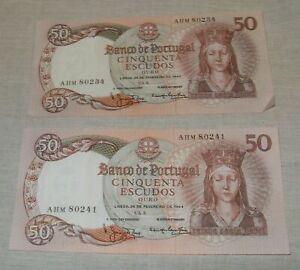 2 X Portugal 50 Escudos Banknotes EF and UNC 1964, 28-2-1964