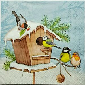 4 x Single Paper Napkins//3 Ply//Decoupage//Craft//Lunch Time at the Bird Feeder