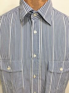 Kuhlman-Mens-2-M-Blue-White-Striped-Short-Sleeve-Cotton-Shirt-Made-in-Italy