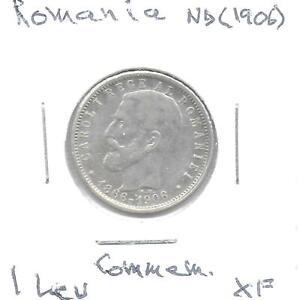 Romania-ND-1906-1-Leu-Silver-Commemorative-Coin-KM-34-XF