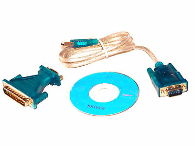 USB Female to RS232 Serial 9Pin DB9 & 25Pin DB25 Male Data Cable Connector