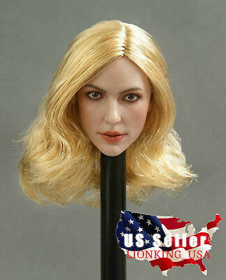 1//6 Female Head Sculpt D BLONDE HAIR For Hot Toys Phicen Female Figure
