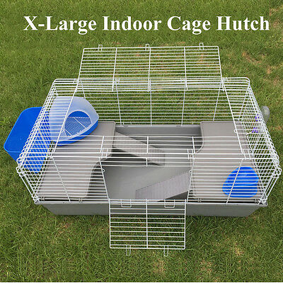 X-Large Metal Indoor Rabbit Guinea Pig Cage Hutch With Ferret Toilet 118cm