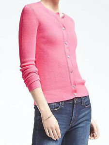 1364d501 Details about NWT Banana Republic New $78 Women Merino Wool Ribbed  Pointelle Cardigan Size M,L