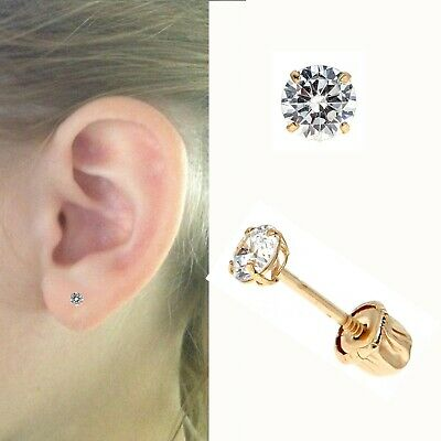 14k Solid Gold Round Baby Cz Screw Back Earrings Children Studs 2mm Ebay