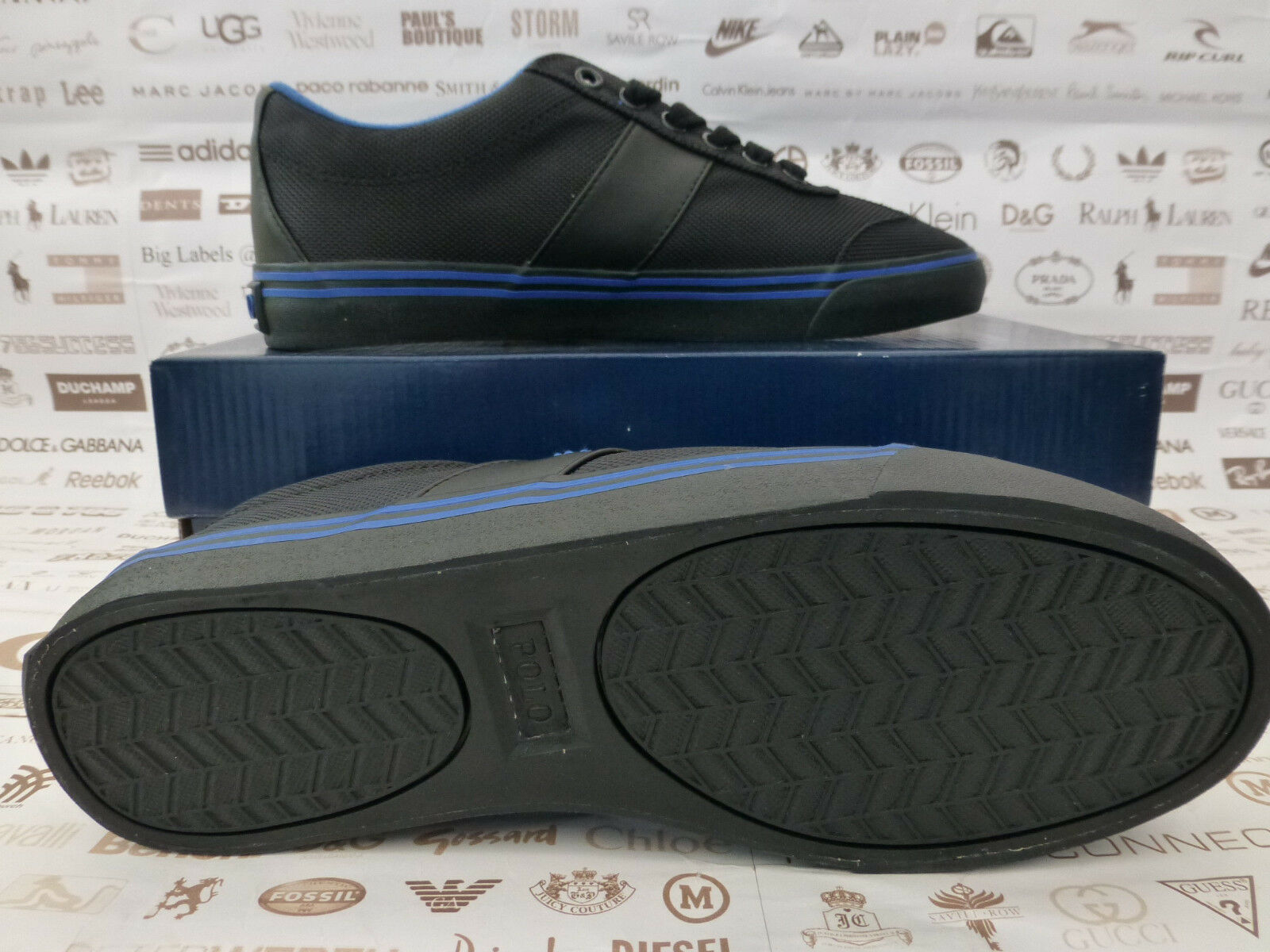 POLO RALPH LAUREN Fabric Sneakers ZEV LOW-NE Black Black Black Trainer UK 7 shoes BNIB R 533bdd