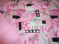 Handmade Baby Quilt- Pink Butterflies Toddler Bed/Crib Quilt Comforter  Blanket