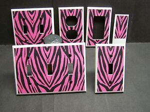 Pink and black zebra print home decor light switch cover for Zebra print and red bathroom ideas