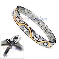 Accents Kingdom Men's Wave Magnetic Therapy Titanium Golf Bracelet T17