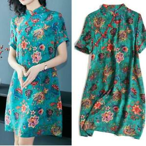 Chinese-Cheongsam-Womens-Vintage-Real-Silk-Qipao-Dress-Embroidery-Summer-Fashion