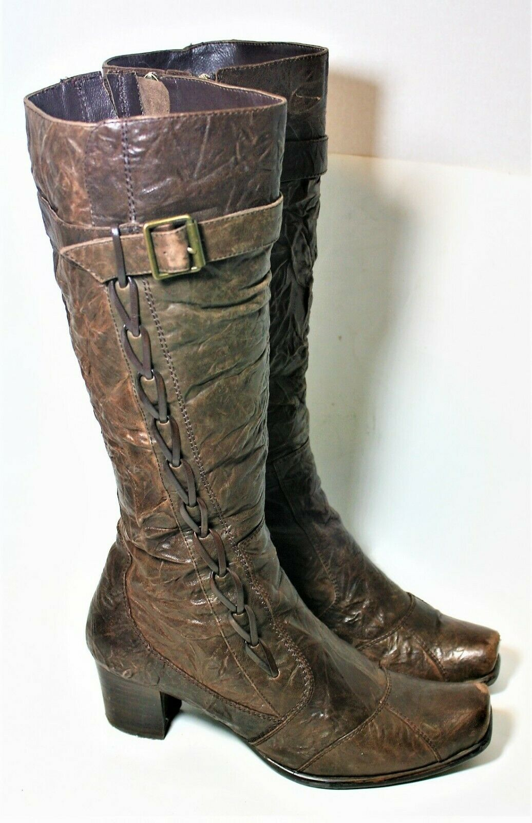 MASCOTTE SHOES CRINKLED BROWN LEATHER FAUX FUR LINED BOOTS 38 KNEE HIGH