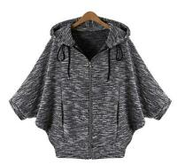 Fashion Women's Hooded Sweater Casual Coats Cardigan Loose Bat Jackets Knitwear