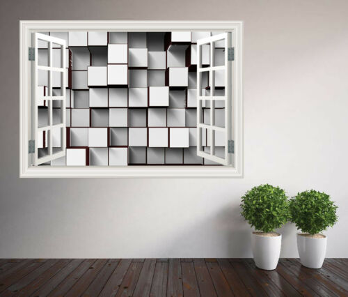 Black and White 3d blocks abstract window wall sticker wall mural 22256975ww