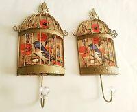 Set Of 2 Large Boho Chic Distressed Metal Bird Cage Wall Hooks Hangers