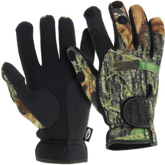 Neoprene Camo Gloves Folding Fingers, Fishing - Shooting - Hunting  Large NGT.
