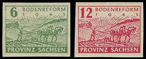 EBS-Germany-1945-Soviet-Zone-SBZ-Saxony-Land-Reform-imperf-Michel-85-86-MNH