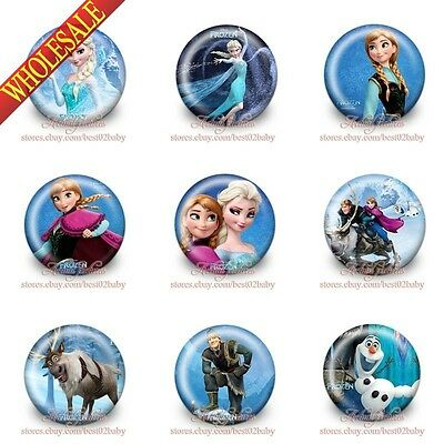 9pcs Fozen Elsa Tin Buttons pins badges 30MM Round Brooch Badge Kids party gift