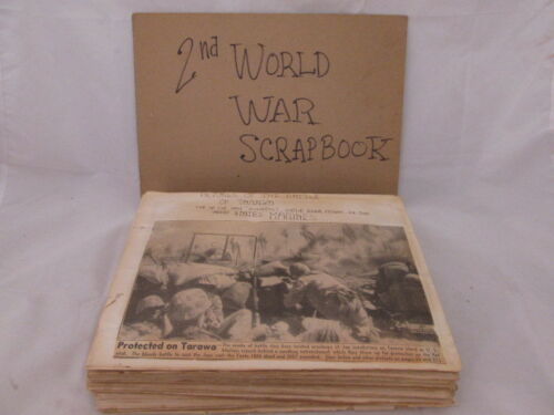 World War II Souvenir Scrapbook Newspaper Clippings Articles Airplanes Leaders